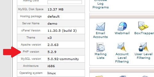 PHP version within cpanel.