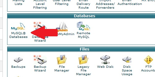 Find the mysql databases icon
