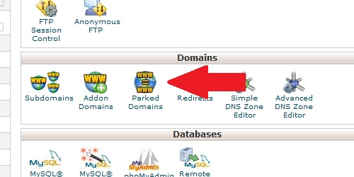 Open the Parked Domains page from within cPanel