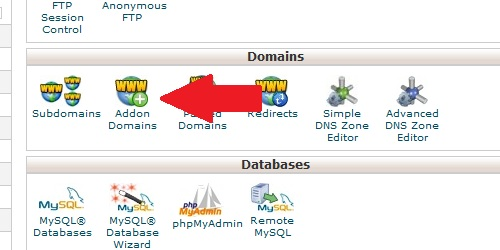 Open the Addon Domain page from within cPanel.