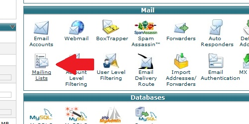 Finding the mailing list icon within cPanel.