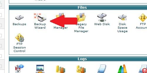 Locate the Backup Wizard icon