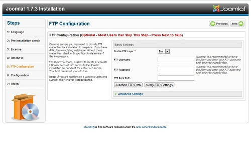 Configure the optional FTP backup.