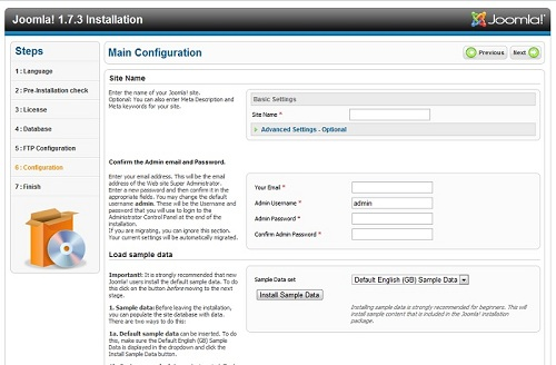 Setup your sites basic configuration.