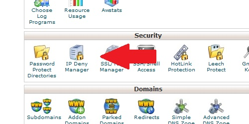 Locate the IP Deny Manager icon.