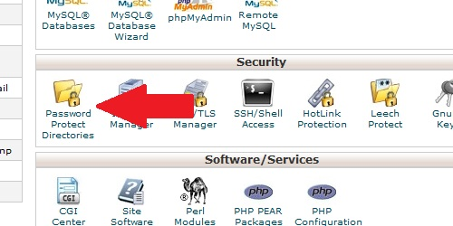 Locate the Password Protect Directory icon within cPanel.