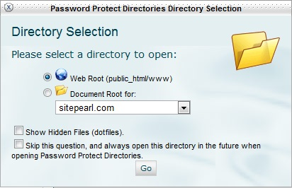 Select the location of the directory.